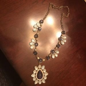 Jewelry - Statement necklace:Dark blue, clear, & teal stones